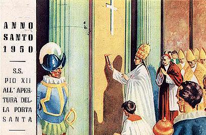 porta santa apertura 1950 cartolina Storia delle Fornaci Giorgi   Antiche Fornaci Giorgi 1735 Ferentino Frosinone